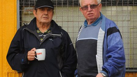 Spectators enjoy a cuppa while watching the FA cup game between Great Yarmouth and Diss. PICTURE: De