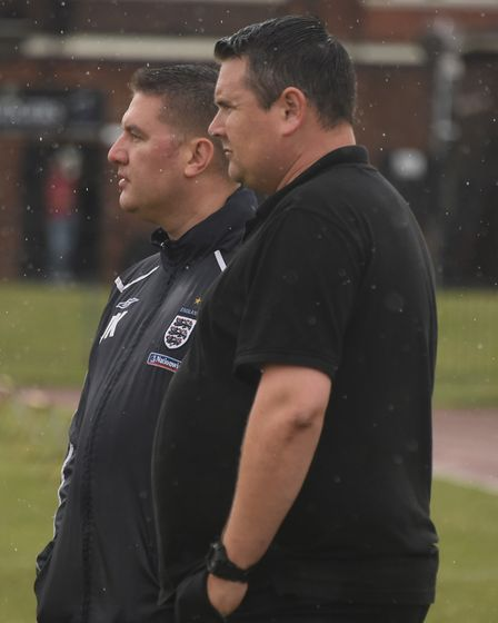 Diss manager, Jason Cook, right, and assistant manager, Justin King at the FA cup game between Great