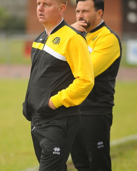 Great Yarmouth joint managers, Adam Mason, front, and Martyn Sinclair, will need to lift their playe