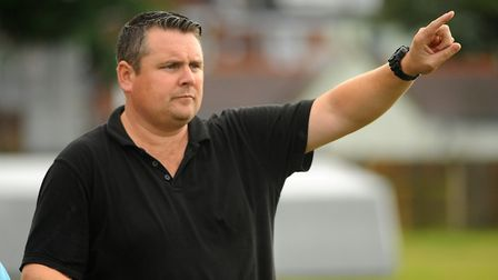 Diss Town manager, Jason Cook, at the FA cup game between Great Yarmouth and Diss. PICTURE: Denise B