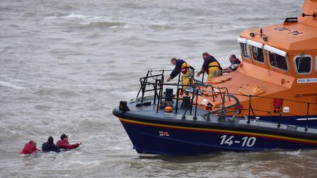 Crew from the RNLI Great Yarmouth and Gorleston along with Lowestoft lifeboat crew demonstrate to th