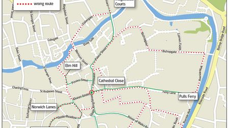 The correct and incorrect routes. Picture: Archant