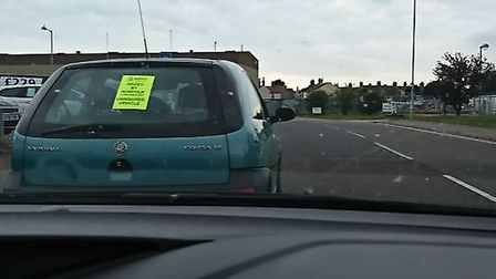 Police seized this vauxhall Corsa for having no insurance - while it was delivering a takeaway. Pict