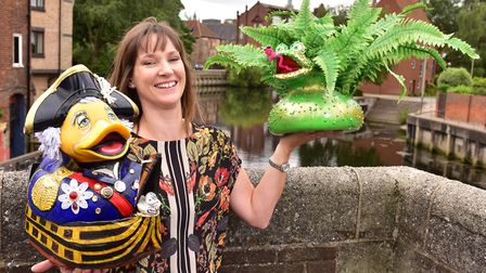 Preview of the hand painted ducks that will be taking part in Break's annual duck race in Norwich. S