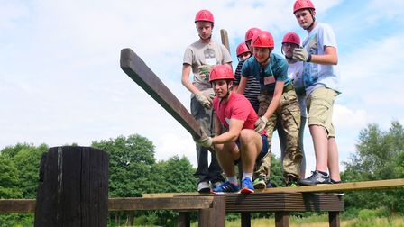 Young people taking part in a team-building exercise. Picture by SIMON FINLAY.