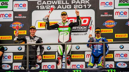 Danny Buchan on top of the Superstock 1000 podium. Picture: Barry Clay