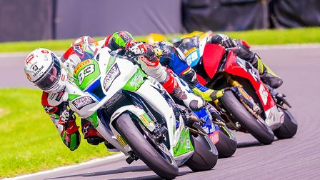 Morello Racing's Danny Buchan leads Richard Cooper and Chrissy Rouse in the Superstock 1000 race. Pi