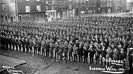 Dereham in the First World War. New recruits and reservists gather on the Market Place. Picture: Kit