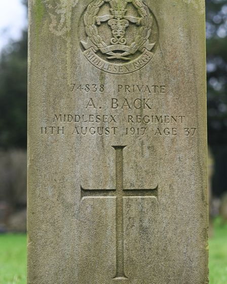 The grave of Pte Alfred Back in Dereham cemetery. Picture: Ian Burt