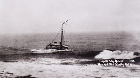 The wreck of HMHS Rohilla. Whitby RNLI Coxswain Thomas Langlands was awarded an RNLI Gold Medal for