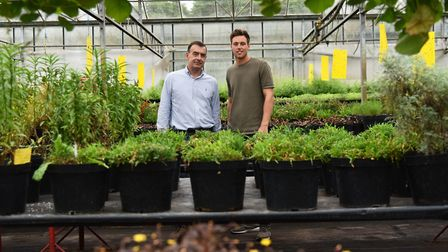 Nursery manager Alex Drane and his dad and nursery owner Allan Miller. Byline: Sonya Duncan Copyrigh
