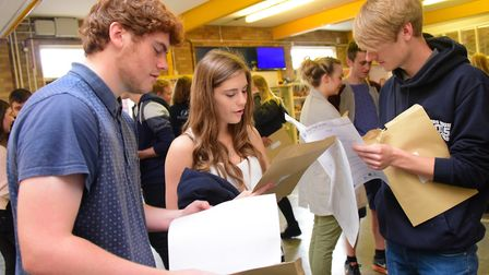 Diss High School GCSE students collecting their GCSEs in 2015. Picture by SIMON FINLAY