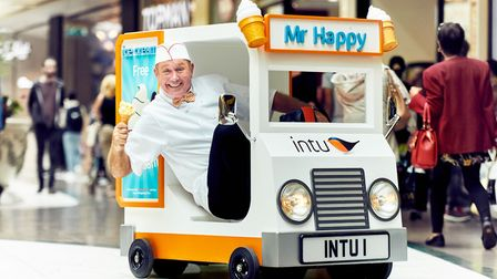 The world'�s smallest ice cream van delivered free ice cream to shoppers at intu Chapelfield in Norw