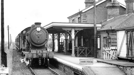 The 1.35 p.m. from Wells drawing into Holkham Staton. This service the Wells - Heacham line was due