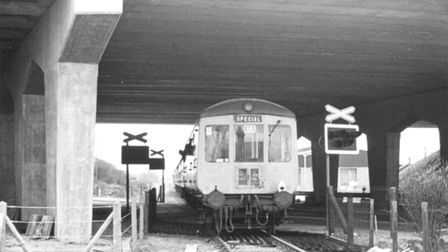 A DMU excursion train organised by the Wymondham, Dereham and Fakenham Railway Action Committee come