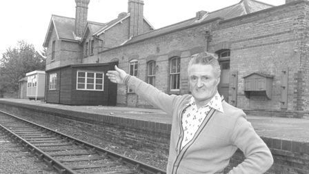 Mr James McCarter pictured at Reepham Railway Station, 15th August, 1977. Picture: Archant Library