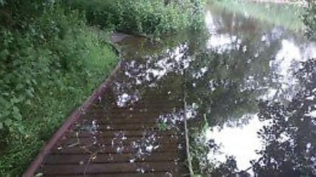A section of the boardwalk in Peddars Way has been repaired. The picture shows the boardwalk before