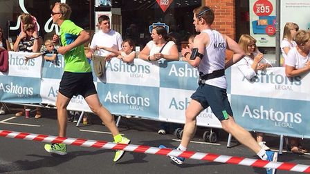 Running columnist Mark Armstrong coming towards the end of his Run Norwich race. Picture: Alison Arm