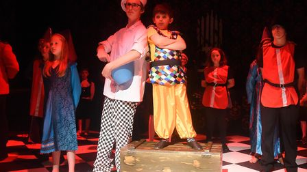 Ed Longmuir as the Court Chef, and Otto Moore Fuller as Bubbles the Jester in Sleeping Beauty being