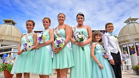 Cromer Carnival 2016. Carnival Queen Joanna Annison, 4th from left, with her attendants at the crown