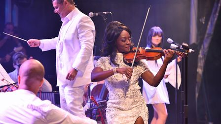 Classic Ibiza anthems concert at Blickling Hall, Norfolk. Urban Soul Orchestra conducted by Stephen