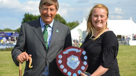 Wayland Show 2017: Young Achiever of the Year Rosie Howes receives her trophy from show president Ke