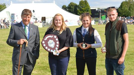 Wayland Show 2017: From left: Show president Kevin Bowes with Young Achiever of the Year winner Rosi