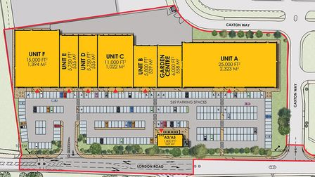 The site layout of the Breckland Retail Park in Thetford. Picture: Urban Edge Architecture