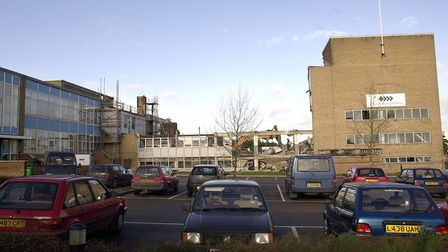 Part of the Thermos building in Thetford. The factory has since been demolished and is the proposed