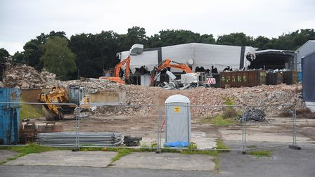 The former Thermos and Tulip building being demolished at Thetford. The site is proposed for the dev