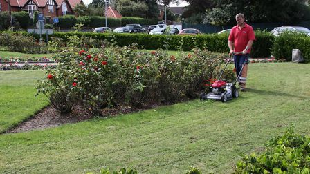 Contractors are pictured at work in the memorial gardens in Sheringham. Picture: Ally McGilvray
