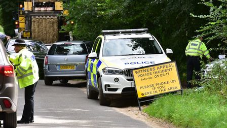 Police carrying out anniversary checks near to the scene of the murder in woods near to East Harling