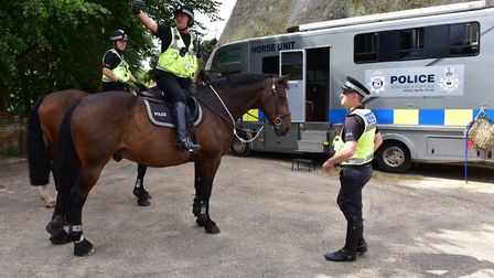 Police on horseback to provide reassurance in East Harling while anniversary checks about the murder