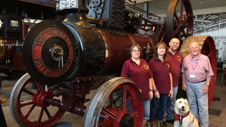 Charles Burrell Museum volunteers with agricultural engine Aggie. Pictured left to right: Gail Towns