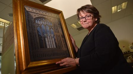 Norfolk Record Office exhibition of Norwich churches. Dr Clare Haynes, senior research associate at