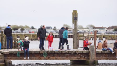 Families having-a-go at crabbing in Walberswick. Picture:Sarah Lucy Brown