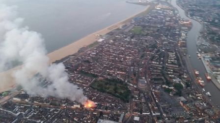 An aerial image of the fire in Great Yarmouth taken by the police helicopter. Picture: NPAS Wattisha