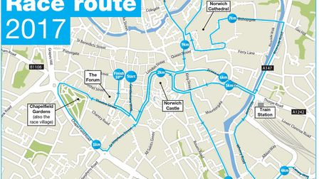 The route of this year's Run Norwich. Picture: Archant