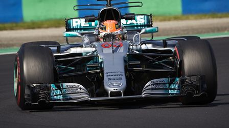 George Russell in action with the race winning Formula 1 Mercedes AMG W08. Picture: Steve Etheringto