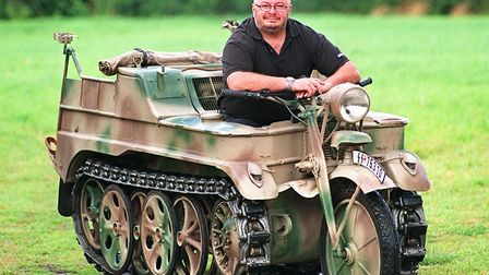 Bruce Crompton on his Kettenkrad which was used in the Spielberg film Saving Private Ryan. Pic: Dani