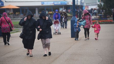 The wind and rain hits Great Yarmouth sea front. Picture: DENISE BRADLEY