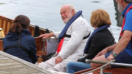 Timothy West, Prunella Scales, Nicola Hems, and Glenn Golding on board Falcon. Picture: Martin Carru