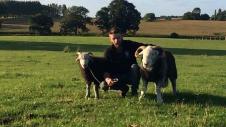Farmer Richard Weston reunited with his two stolen rams. Picture: Submitted by Richard Weston