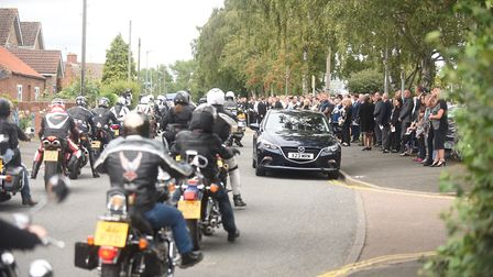 Bikers arriving outside the Roman Catholic Church of the Holy Family in Gaywood, for the funeral of