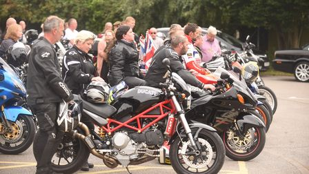 Bikers outside the church for the funeral of super bike rider Mark Fincham. Picture: Ian Burt
