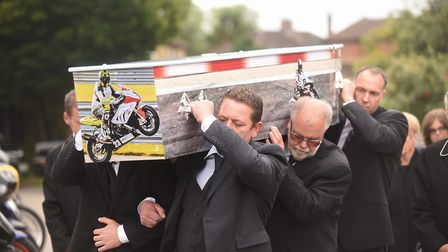 The funeral of super bike rider Mark Fincham at the Roman Catholic Church of the Holy Family in Gayw