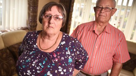 Beatrice Websdale with Ian, her husband and carer. Picture : ANTONY KELLY