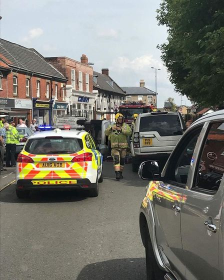 Emergency services were called to a single-vehicle collision in Church Street, Attleborough. Picture