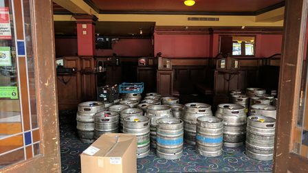 Beer barrels waiting to be transported.The Troll Cart Wetherspoon pub in Great Yarmouth has closed f