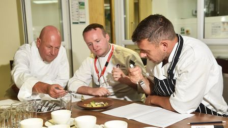 Chef of the Year competition at City College. Judges, left to right, Adam Jarvis, Martin Colley and